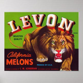 Melones de Levon California Poster