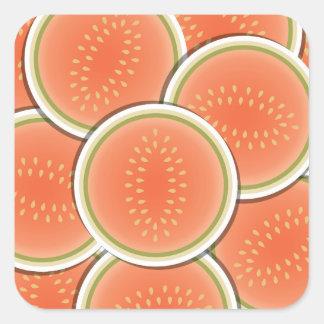 Melones enrrollados pegatina cuadrada