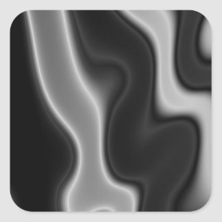 Melted Black&White Abstract Square Sticker