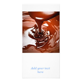 Melted chocolate and spoon custom photo card