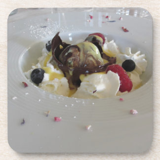 Melted chocolate ball with zabaglione cream beverage coaster