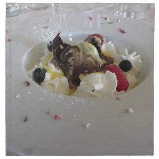 Melted chocolate ball with zabaglione cream cloth napkin