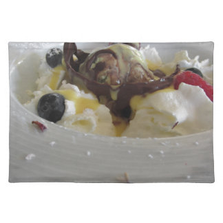Melted chocolate ball with zabaglione cream cloth placemat