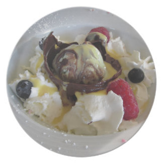 Melted chocolate ball with zabaglione cream melamine plate