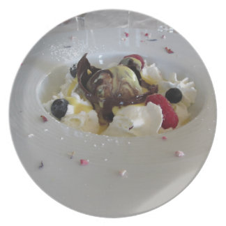 Melted chocolate ball with zabaglione cream plate