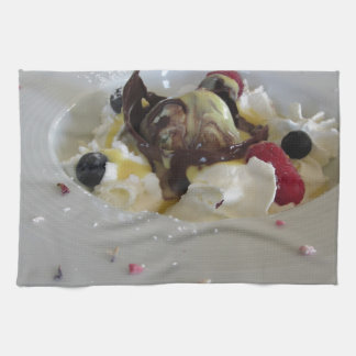 Melted chocolate ball with zabaglione cream towel