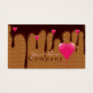 melted chocolate with pink hearts business card