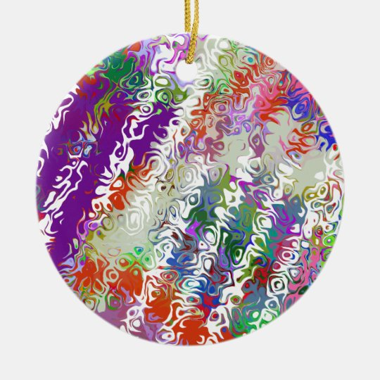 Melted Crayons Abstract Ceramic Ornament