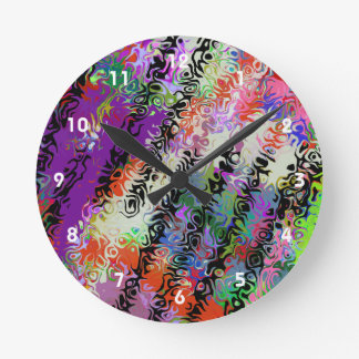 Melted Crayons Abstract Round Wall Clock