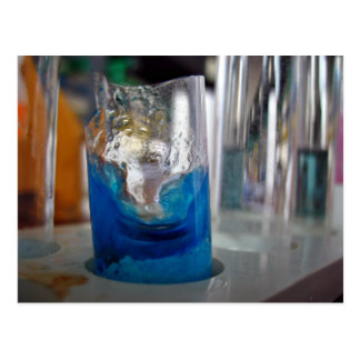 Melted glass vessel with solution postcard