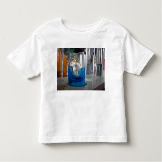 Melted glass vessel with solution shirts