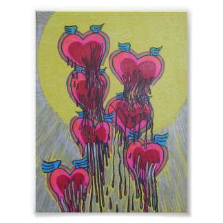 melted heart shapes poster