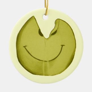 Melted Smiley Face Ceramic Ornament
