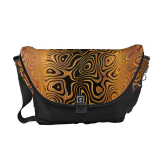 Melted Tiger - Black and Bronze Abstract Messenger Bag
