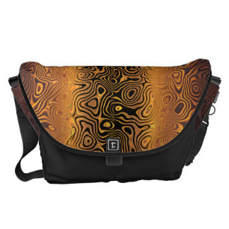 Melted Tiger - Black and Bronze Abstract Messenger Bags