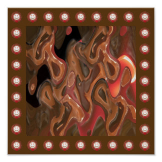 MELTED Wax Abstract Art:  Thousand SMILES  Border Poster