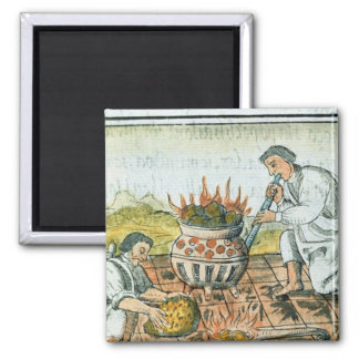 Melting and casting gold in the Aztec empire 2 Inch Square Magnet