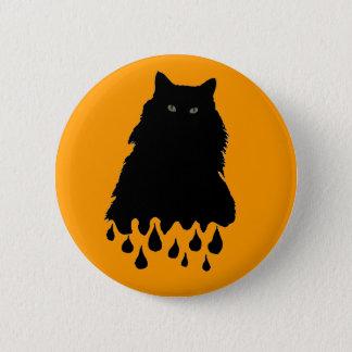 Melting Black Cat on Orange Pinback Button