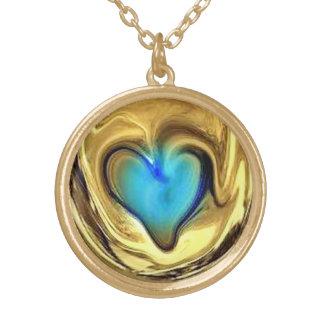 Melting Blue Heart Round Pendant Necklace