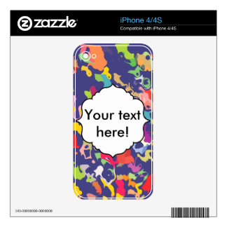 Melting colorful pieces abstract design decal for iPhone 4
