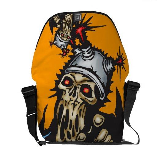 Melting Cyborg Skull Messenger Bag