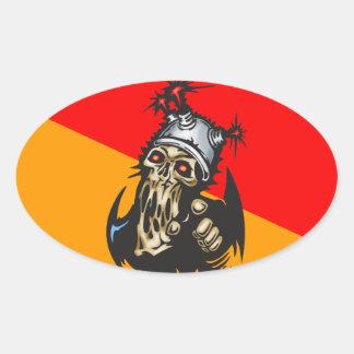 Melting Cyborg Skull Oval Sticker