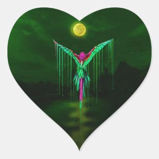 Melting Flying Parrot Heart Sticker