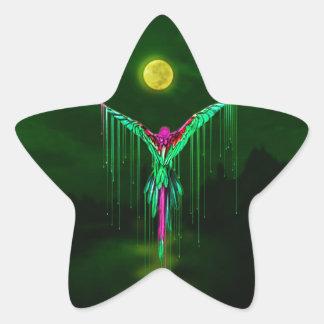 Melting Flying Parrot Star Sticker