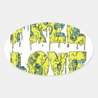 Melting free love graffiti style oval sticker