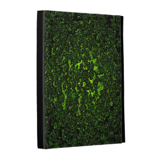 Melting hot green metal abstract digital pattern iPad folio case