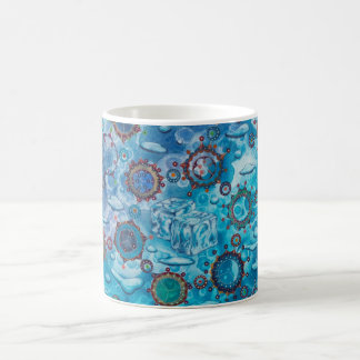 Melting ice & water with molecules & mandalas coffee mug