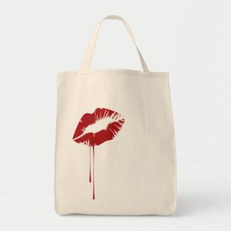 melting lip grocery tote bag
