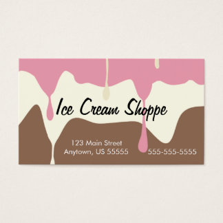 Melting Neapolitan Ice Cream Shop Business Card