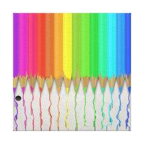 Melting Rainbow Pencils Canvas Print