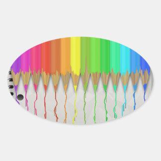 Melting Rainbow Pencils Oval Sticker
