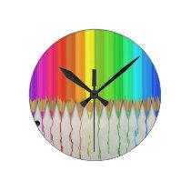 Melting Rainbow Pencils Round Clock