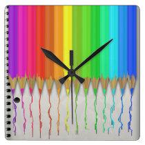 Melting Rainbow Pencils Square Wall Clock