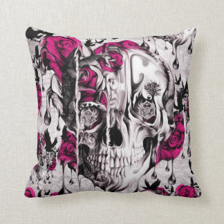 Melting Rose skull in grey and pink Throw Pillow