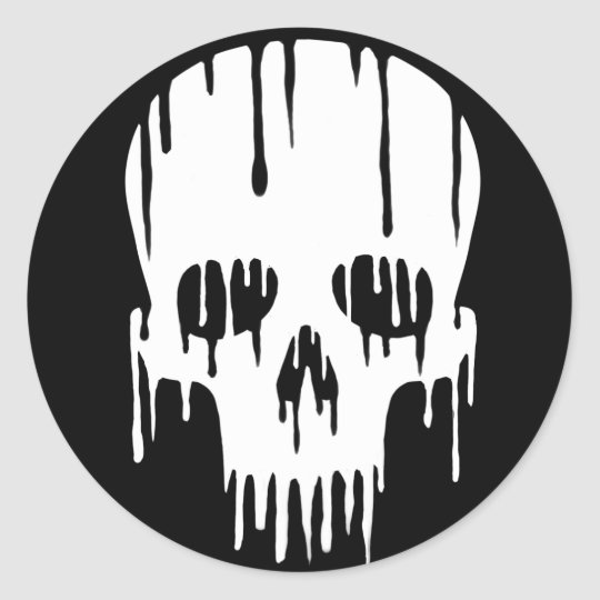 Melting Skull Classic Round Sticker