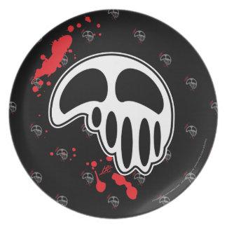 Melting Skull Design with Blood Splatters Plate