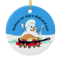 Melting snowman chef turkey Christmas ornament