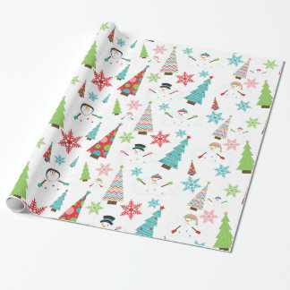Melting Snowman Funky Christmas Trees Gift Wrap