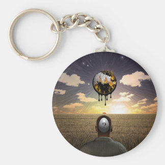 Melting time basic round button keychain