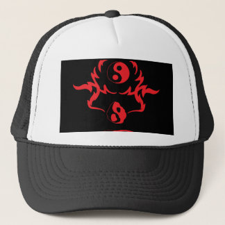 Melting Yin Yang Red Black Urban Tribal Trucker Hat