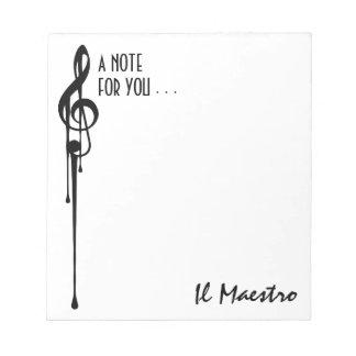 MELTPOINT WHITE Black G-Clef 'Il Maestro' Custom Notepad
