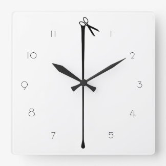 MELTPOINT WHITE Hot Black Scissors Square Wall Clock