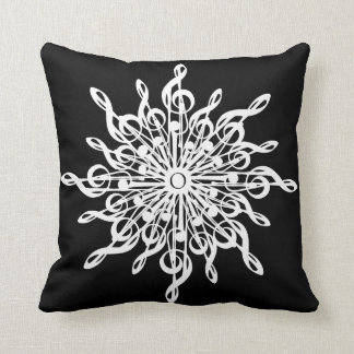 MELTPOINT WINTER Black Monogram G-Clef Snowflake Throw Pillow