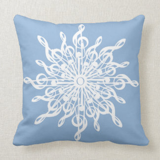 MELTPOINT WINTER Blue Monogram G-Clef Snowflake Throw Pillow