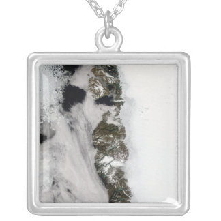 Meltwater ponds along Greenland West Coast Square Pendant Necklace