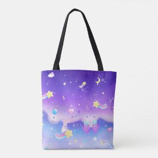 Melty milky way galaxy tote bag